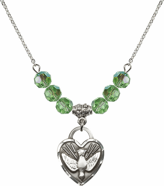 Confirmation Heart August Peridot 6mm Swarovski Crystal Necklace by Bliss Mfg