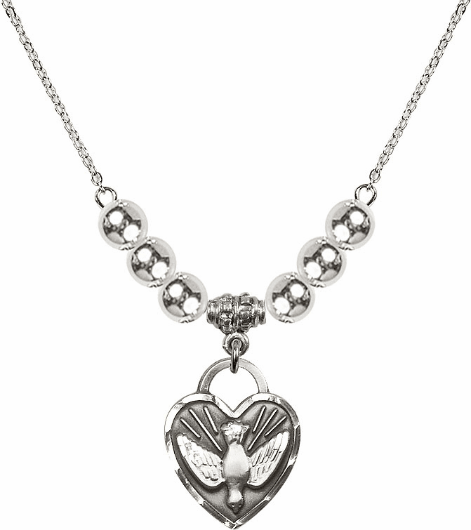 Confirmation Heart Charm w/6mm Silver Beaded Necklace by Bliss Mfg