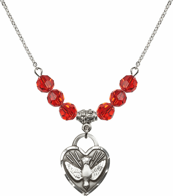 Confirmation Heart July Ruby 6mm Swarovski Crystal Necklace by Bliss Mfg