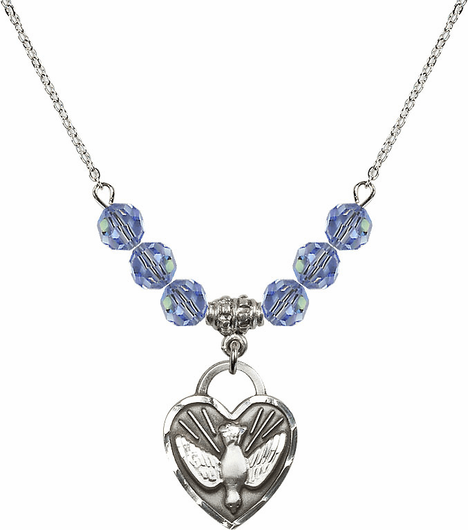 Confirmation Heart Lt Sapphire 6mm Swarovski Crystal Necklace by Bliss Mfg