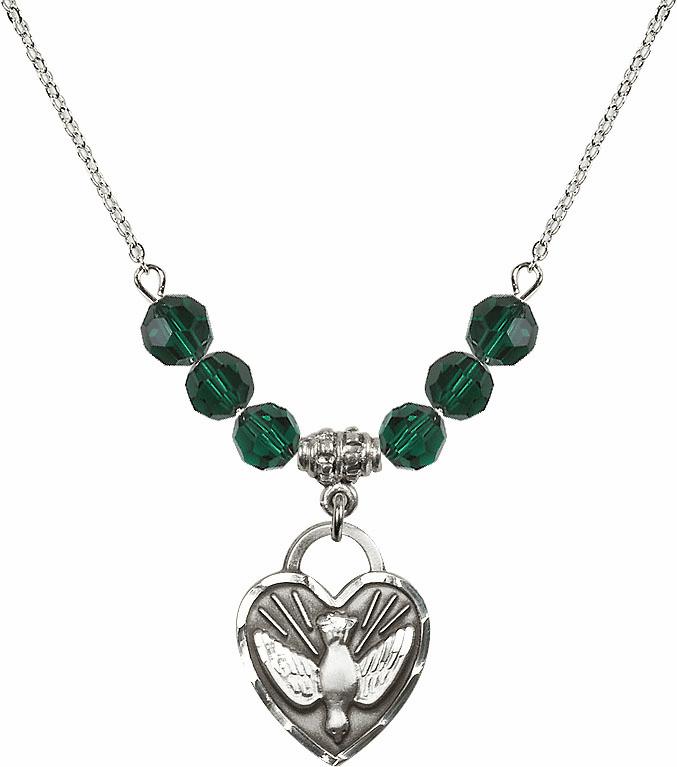 Confirmation Heart May Emerald 6mm Swarovski Crystal Necklace by Bliss Mfg
