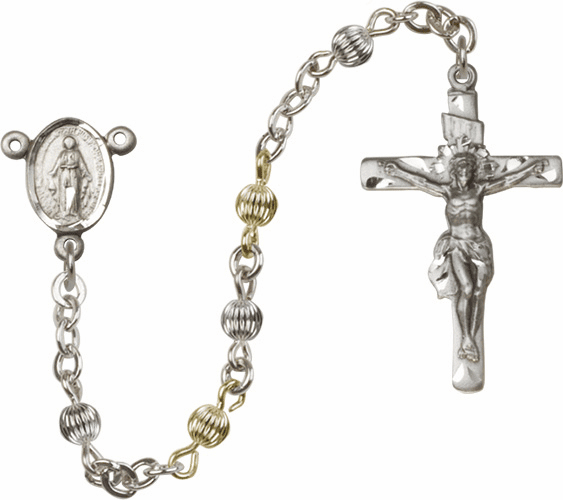 Corrugated Sterling Silver and Gold-filled 4mm Round Beads Miraculous Medal Rosary