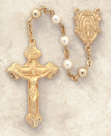 Creed 6mm Mother Of Pearl 14kt Gold Catholic Prayer Rosary