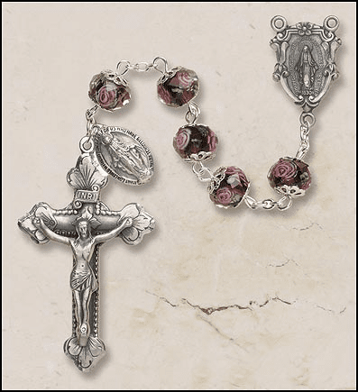 Creed Amethyst Hand-Painted Glass Catholic Italian Prayer Rosary