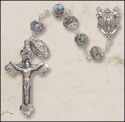 Creed Aqua Hand-Painted Glass Catholic Italian Prayer Rosary