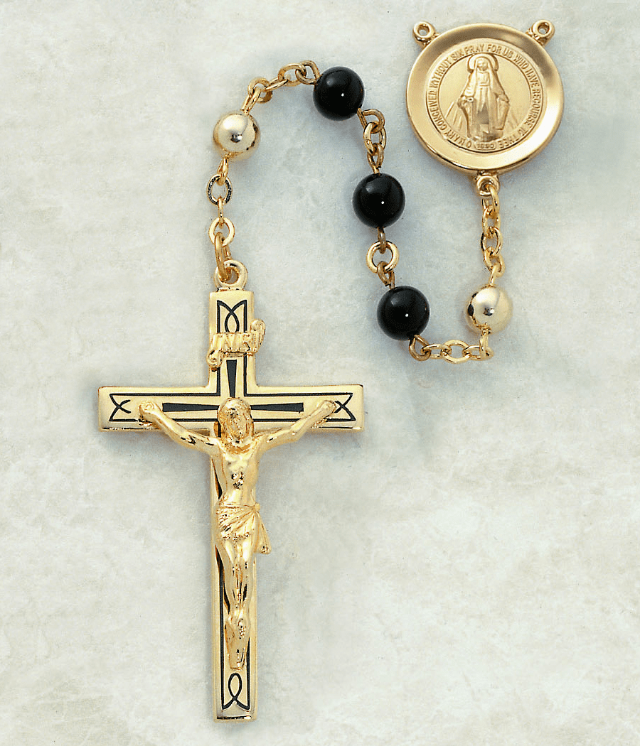 Creed Black Onyx 14kt Gold Men's Catholic Rosary