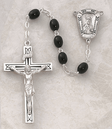 Creed Black Oval Wood Sterling Silver Rosary