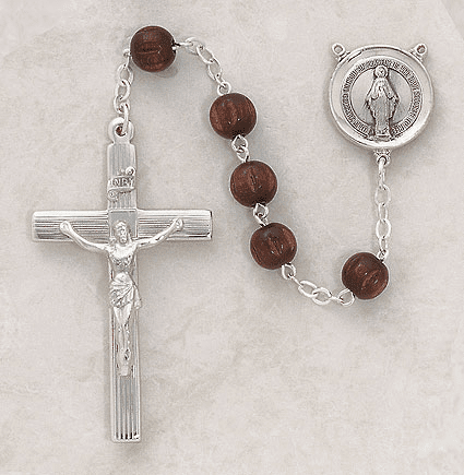 Creed Brown 8mm Round Dark Brown Wood Sterling Silver Rosary
