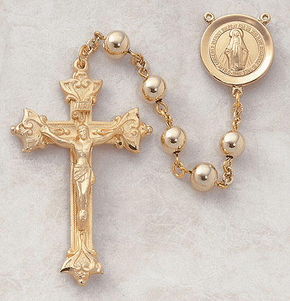 Creed Catholic 7mm 22kt Gold Over Sterling Prayer Rosary