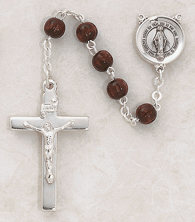 Creed Catholic Round Dark Brown Wood Sterling Silver Rosary