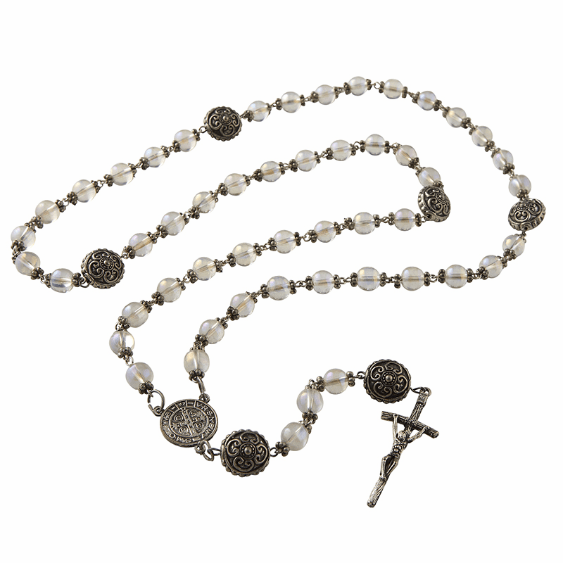 Creed Catholic Vintage Style Luster Glass Blessing Prayer Rosaries