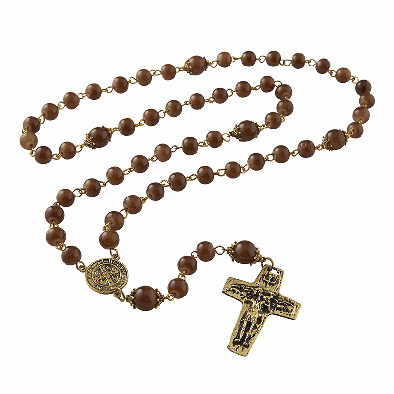 Creed Catholic Vintage Style Amber Dye Glass Blessing Prayer Rosaries