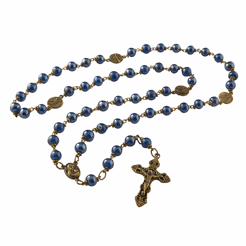 Creed Catholic Vintage Styled Indigo Blue Luster Glass Blessing Prayer Rosary