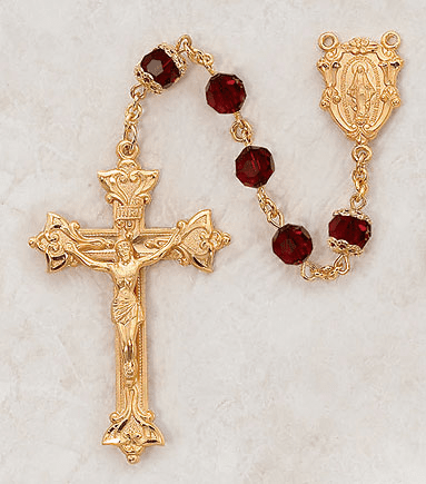 Creed Czech Ruby 24kt Gold over Sterling Silver Prayer Rosary
