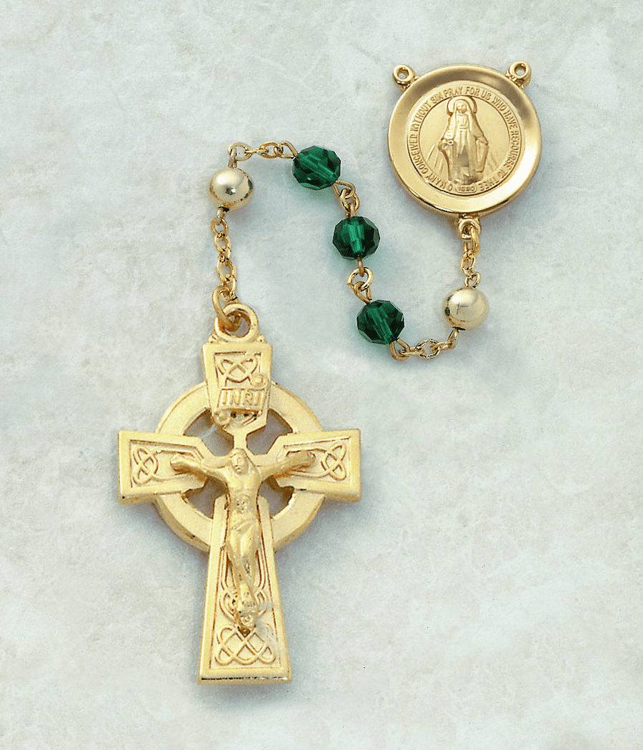 Creed Emerald Crystal Irish Catholic 14kt Gold Celtic Rosary