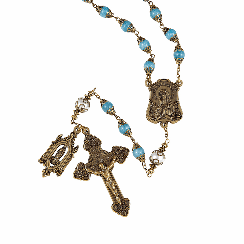 Creed Glass Our Lady of Lourdes Vintage Style Prayer Rosary