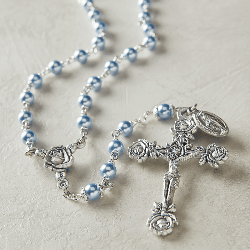 Creed Heritage Lt Blue Swarovski Crystal Pearl Prayer Catholic Rosary