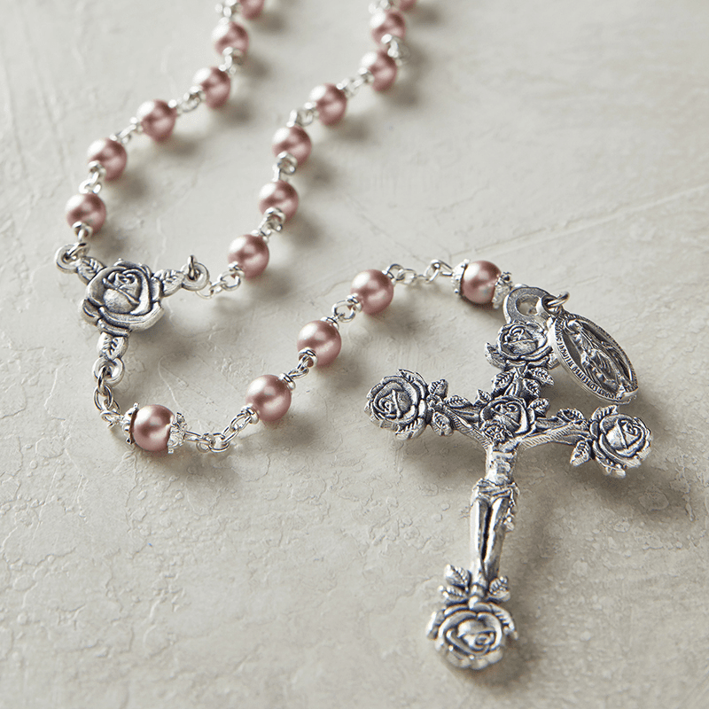 Creed Heritage Lt Pink Swarovski Crystal Pearl Prayer Catholic Rosary