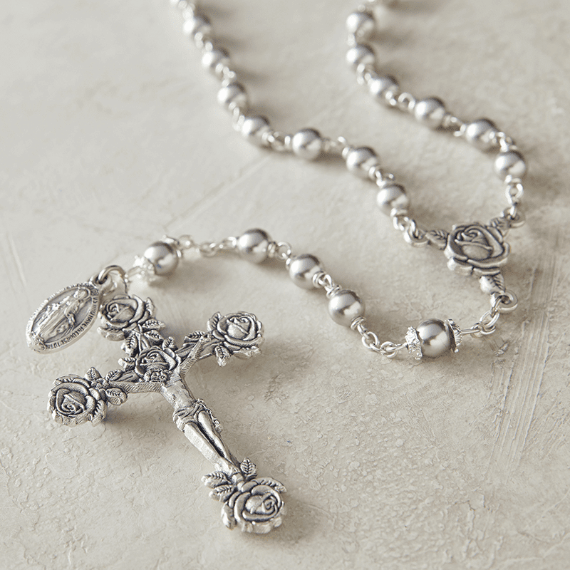 Creed Heritage Pearl Gray Swarovski Crystal Pearl Prayer Catholic Rosary