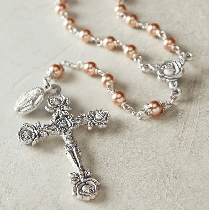 Creed Heritage Rose Gold Swarovski Crystal Pearl Prayer Catholic Rosary