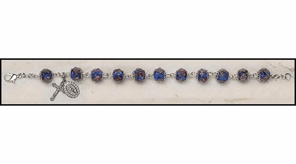 Creed Italian Sapphire Hand-Painted Glass Rosary Bracelet Jewelry