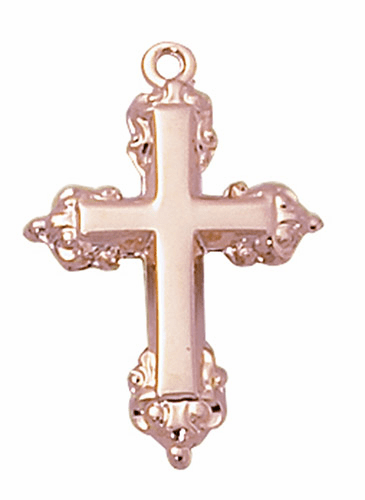 Creed Jewelry 14kt Rose Gold-plated Fancy Edge Cross w/Chain