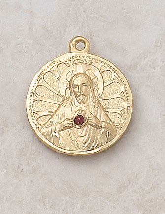 Creed Jewelry Gold Scapular Ruby Stone Necklace