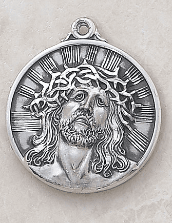 Creed Jewelry Round Head of Christ Medal Necklace