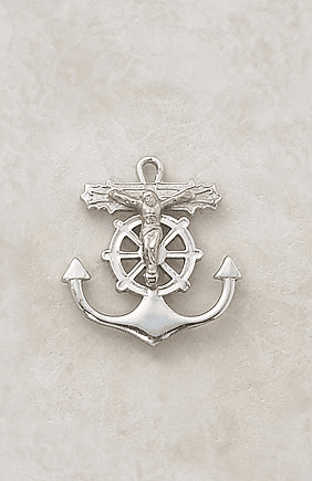 Creed Jewelry Sterling Two-Tone Anchor and Wheel Crucifix Necklace