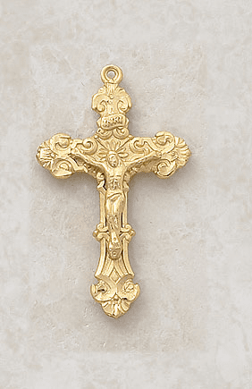 Creed Ornate Gold over Sterling Silver Crucifix Medal Necklace