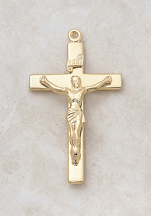 Creed Plain Gold over Sterling Silver Crucifix Medal Necklace