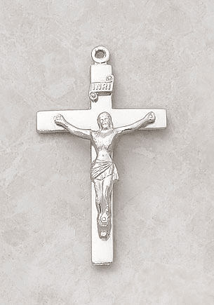 Creed Plain Sterling Silver Crucifix Medal Necklace