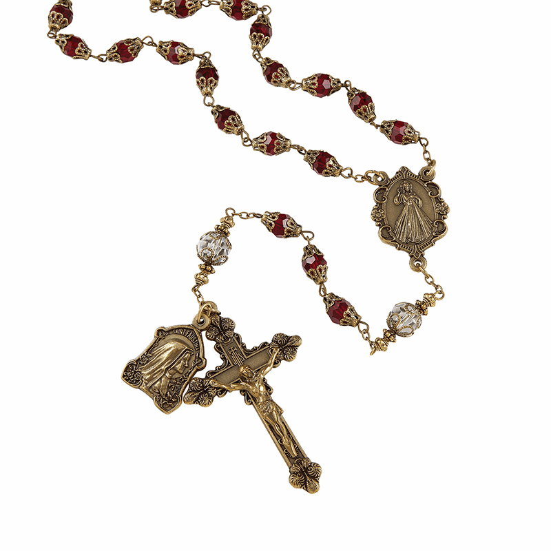 Creed Red Glass Divine Mercy Vintage Style Prayer Rosary