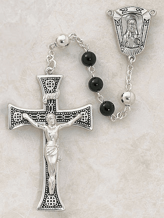 Creed Sacred Heart Sterling Silver Semi-Precious Black Onyx Rosary
