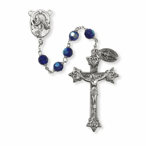 Creed Sapphire Prague 7mm Czech Fire Polished Italian Prayer Rosary
