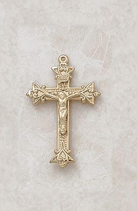 Creed Small Fancy Gold over Sterling Silver Crucifix Medal Necklace