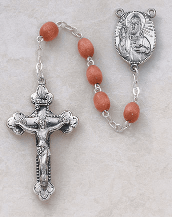Creed Sterling Silver Brown Wood Rosary
