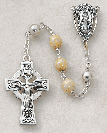 Creed Sterling Silver Celtic Connemara Marble Rosary