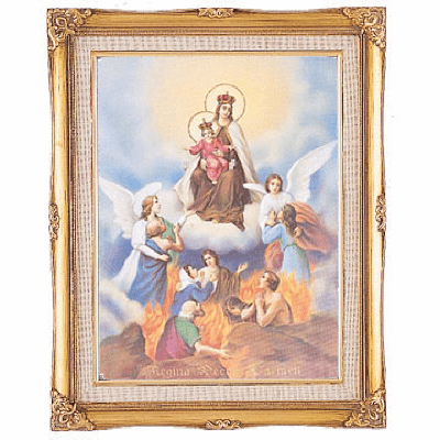 Cromo N B Milan Italy All Souls Our Lady of Mt Carmel w/Gold Framed Picture