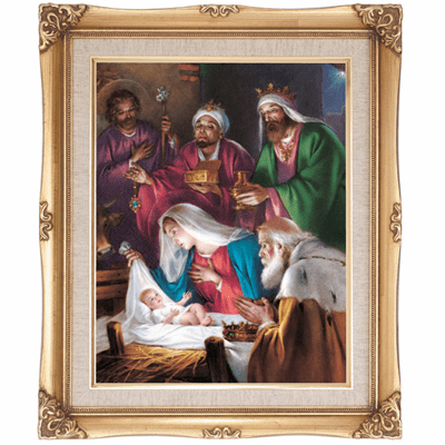 Cromo N B Milan Italy Christmas Nativity Scene w/Gold Framed Picture