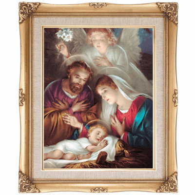 Cromo N B Milan Italy Christmas Nativity w/Gold Framed Picture