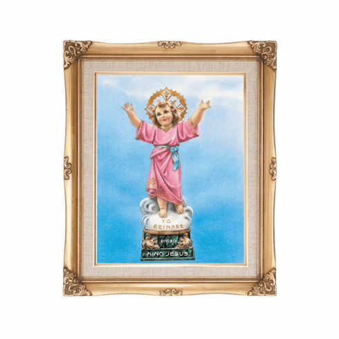 Cromo N B Milan Italy Divine Child Jesus w/Gold Framed Picture