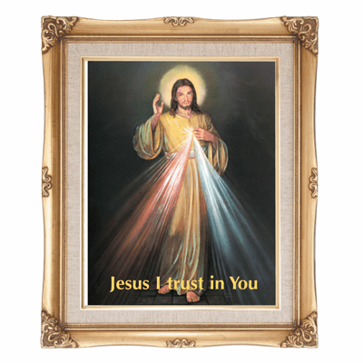 Cromo N B Milan Italy Divine Mercy of Jesus English w/Gold Framed Picture
