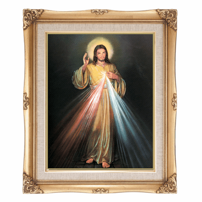 Cromo N B Milan Italy Divine Mercy of Jesus Spanish w/Gold Framed Picture