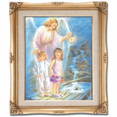 Cromo N B Milan Italy Guardian Angel with Children w/Gold Framed Picture
