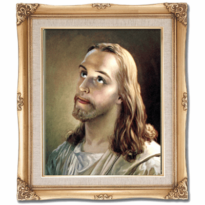 Cromo N B Milan Italy Head of Christ w/Gold Framed Picture