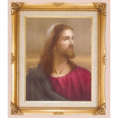 Cromo N B Milan Italy Head of Jesus Christ w/Gold Framed Picture