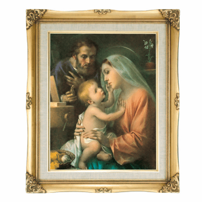 Cromo N B Milan Italy Holy Family w/Gold Framed Picture