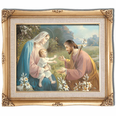 Cromo N B Milan Italy Holy Family with Flowers w/Gold Framed Picture