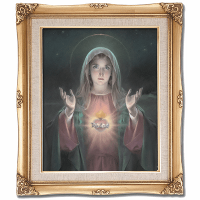 Cromo N B Milan Italy Immaculate Heart of Mary w/Gold Framed Picture